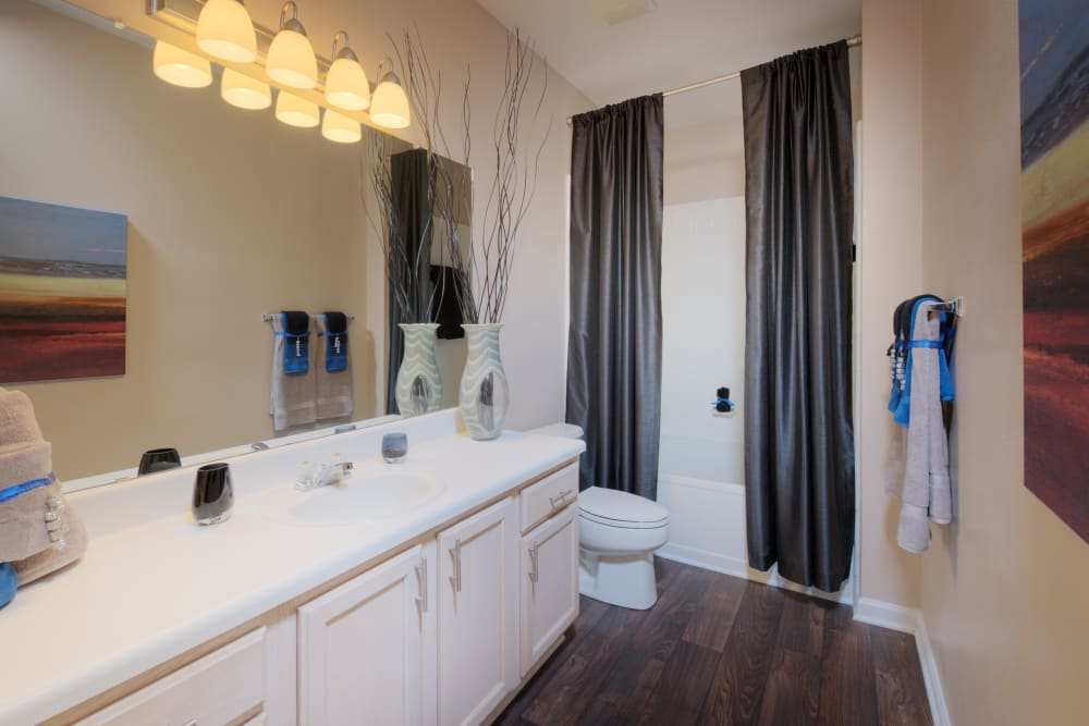 Model bathroom at Preston View in Morrisville, North Carolina