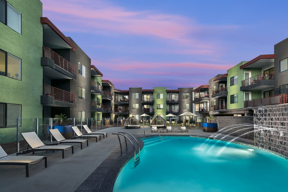 Beautiful swimming pool at sunset at Park Place at Fountain Hills in Fountain Hills, Arizona
