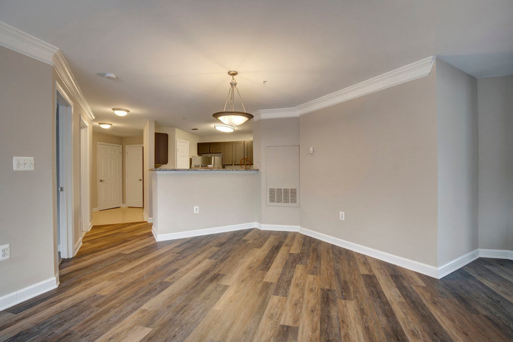 Living room with hard wood floors at Dulles Greene in Herndon, Virginia