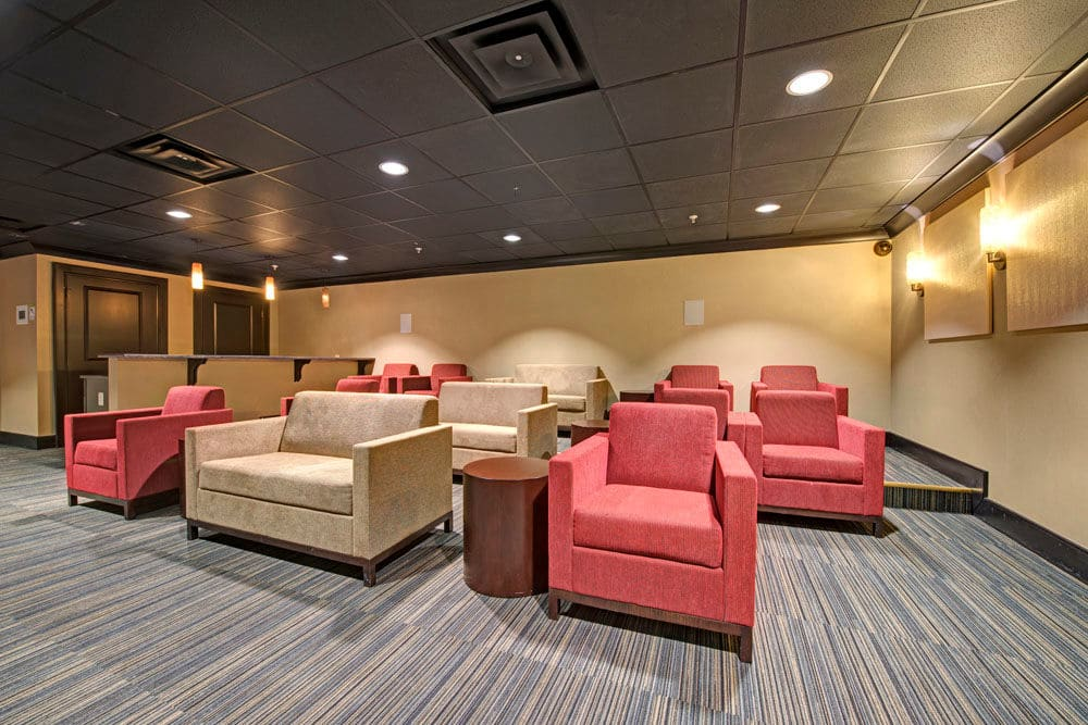 Community clubhouse movie room at Dulles Greene in Herndon, Virginia