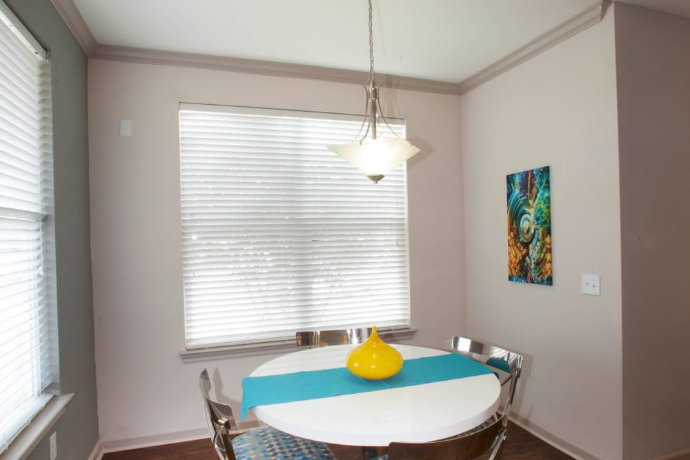Dining nook in a model apartment at Olympus Katy Ranch in Katy, Texas