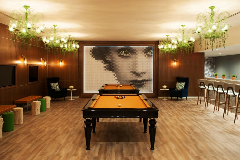 Luxury game room at YOO on the Park in Atlanta, Georgia