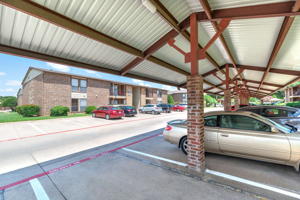 Covered parking at 8500 Harwood Apartment Homes in North Richland Hills, Texas