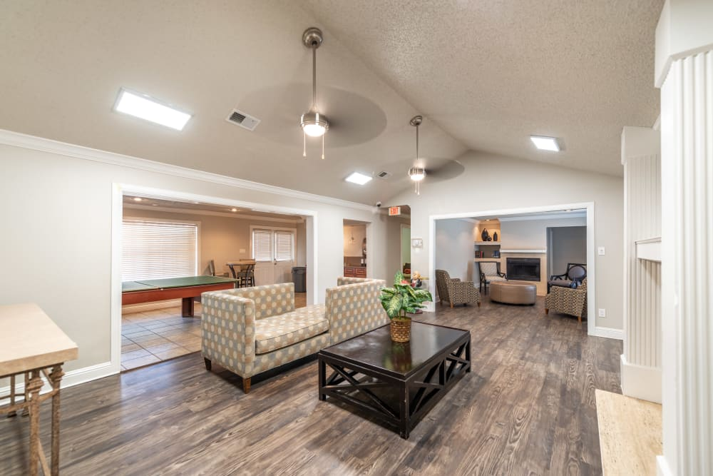 Clubhouse community space at 8500 Harwood Apartment Homes in North Richland Hills, Texas