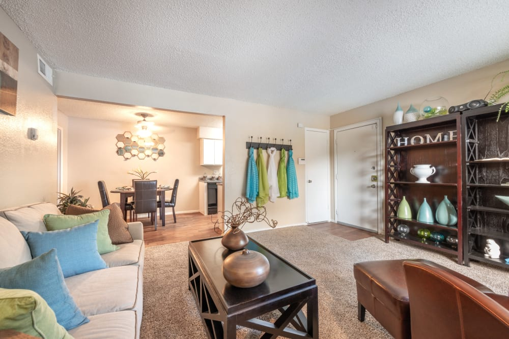 Living room at 8500 Harwood Apartment Homes in North Richland Hills, Texas