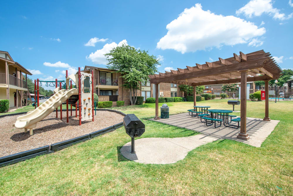 Playground equipment at 8500 Harwood Apartment Homes in North Richland Hills, Texas