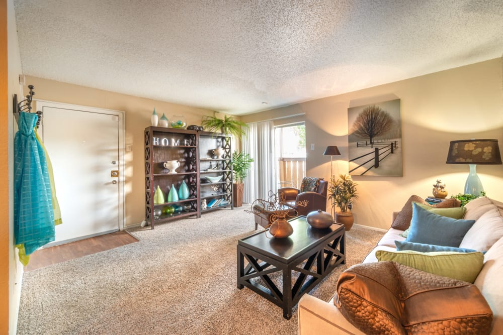 Spacious living room at 8500 Harwood Apartment Homes in North Richland Hills, Texas