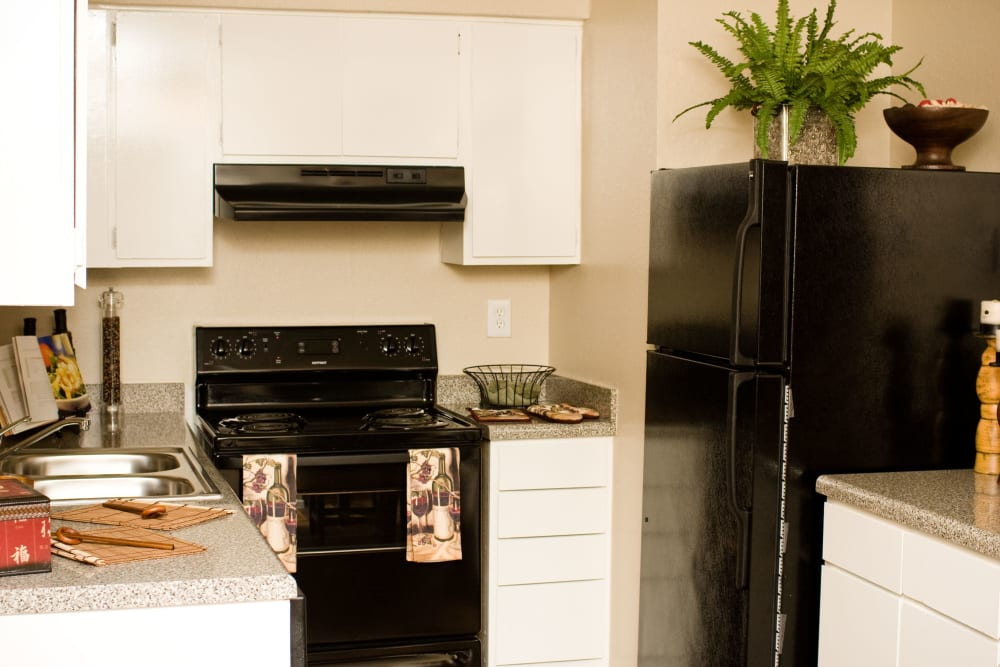 Kitchen space at 8500 Harwood Apartment Homes in North Richland Hills, Texas