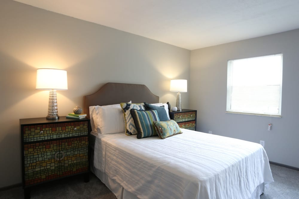 Well decorated model bedroom at Worthington Meadows in Columbus, Ohio
