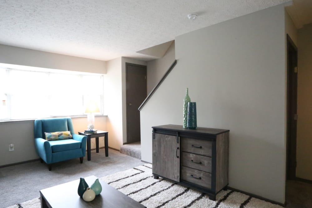 Downstairs common area in unit at Worthington Meadows in Columbus, Ohio