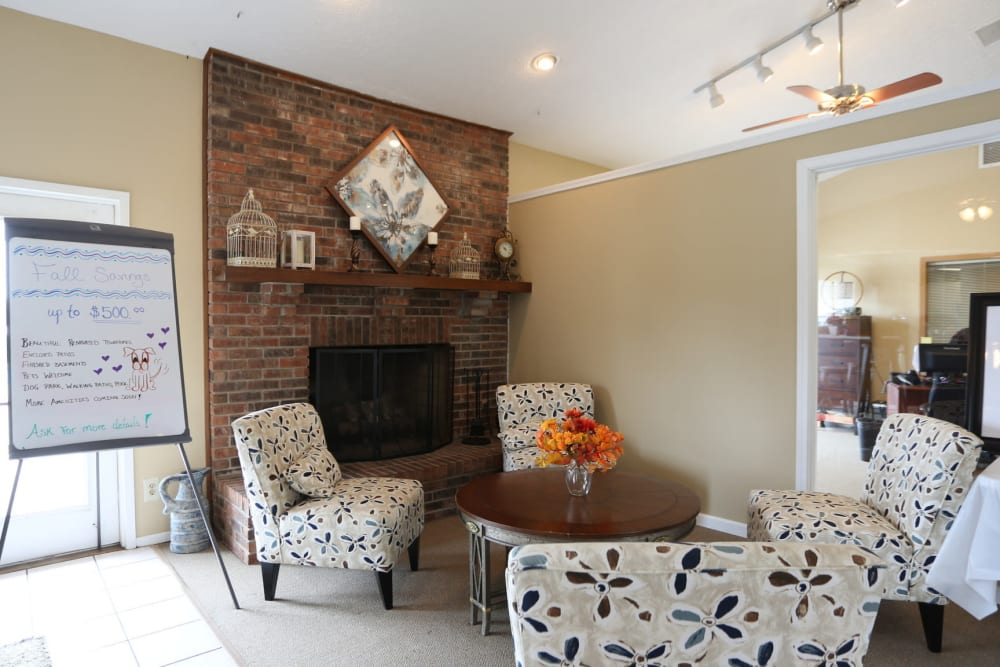 Clubhouse common area with fireplace at Worthington Meadows in Columbus, Ohio