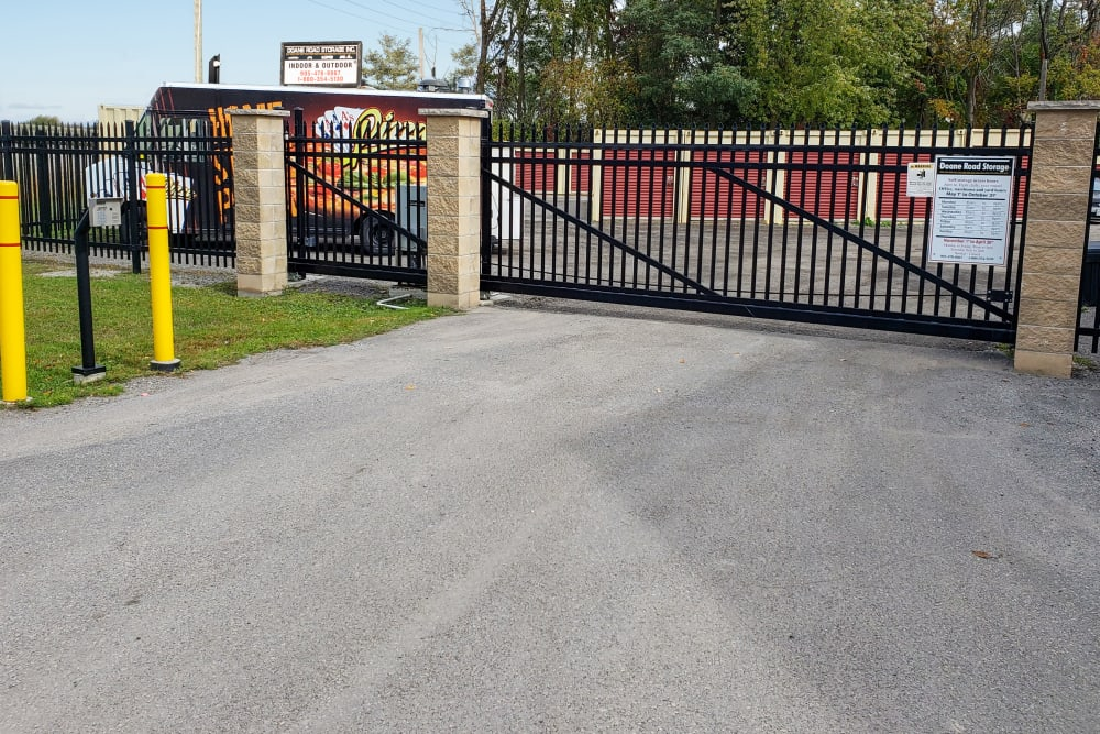 Security gate at Doane Road Storage in Queensville, Ontario