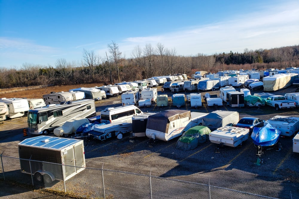 Parking lot at Doane Road Storage in Queensville, Ontario