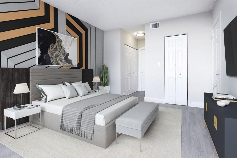 A large apartment bedroom at Aliro in North Miami Beach, Florida