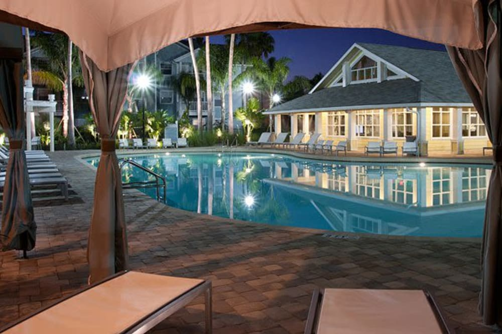 View form gazebo at night by Swimming Pool at Abaco Key in Orlando, Florida