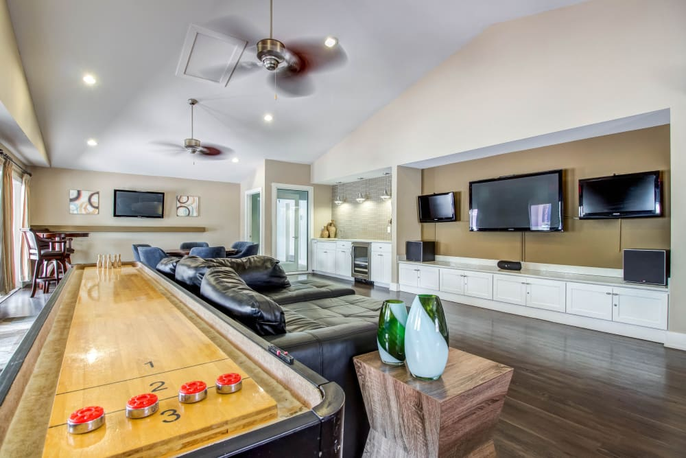 Beautiful clubhouse features shuffleboard and other amenities at Abaco Key in Orlando, Florida