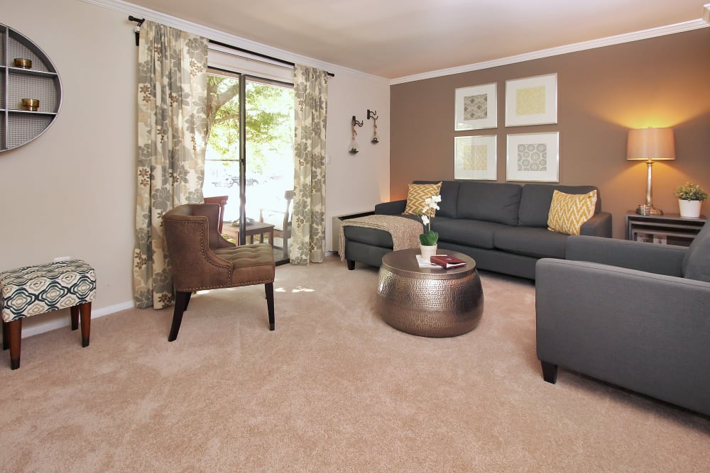 Beautiful Living Room at The Hamptons at Town Center in Germantown, Maryland