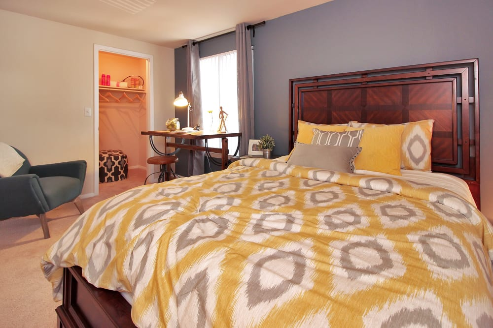 Well decorated bedroom at The Hamptons at Town Center in Germantown, Maryland