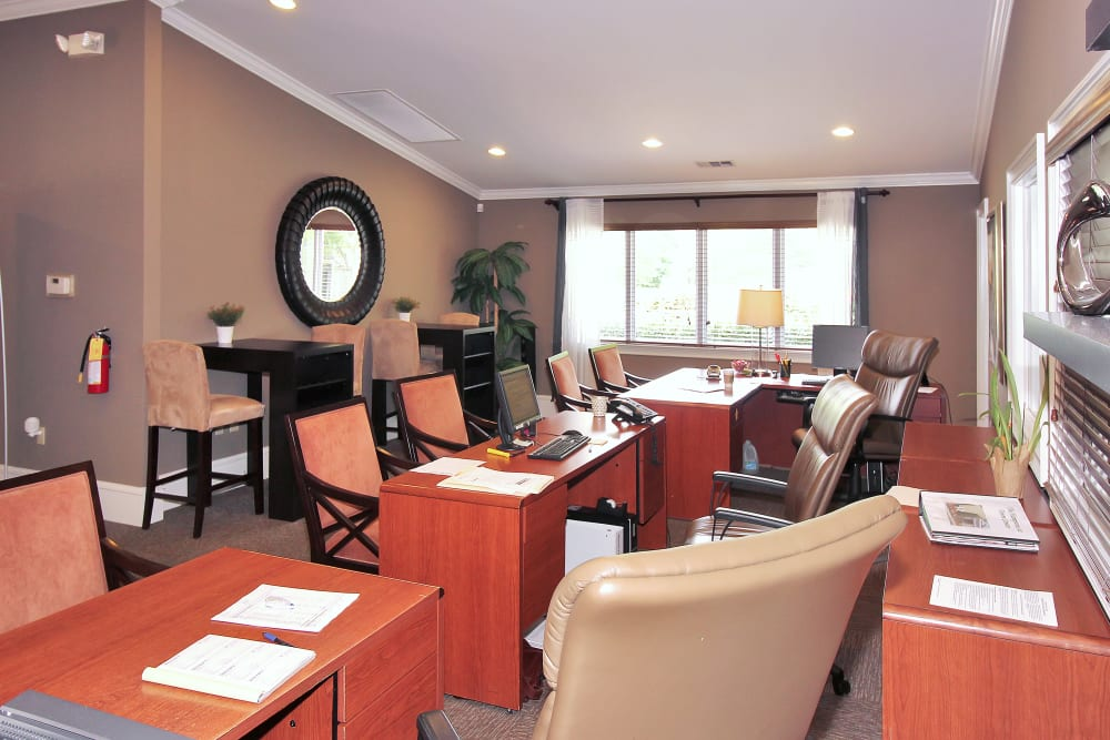 Leasing office work stations at The Hamptons at Town Center in Germantown, Maryland