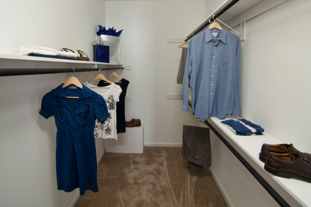 Spacious closet featuring balance of hanger space and storage at Amber Chase Apartment Homes in McDonough, Georgia