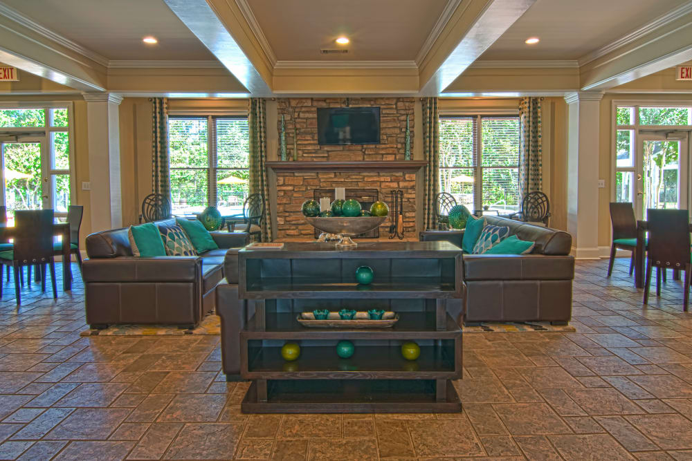 Community space in well decorated clubhouse at Amber Chase Apartment Homes