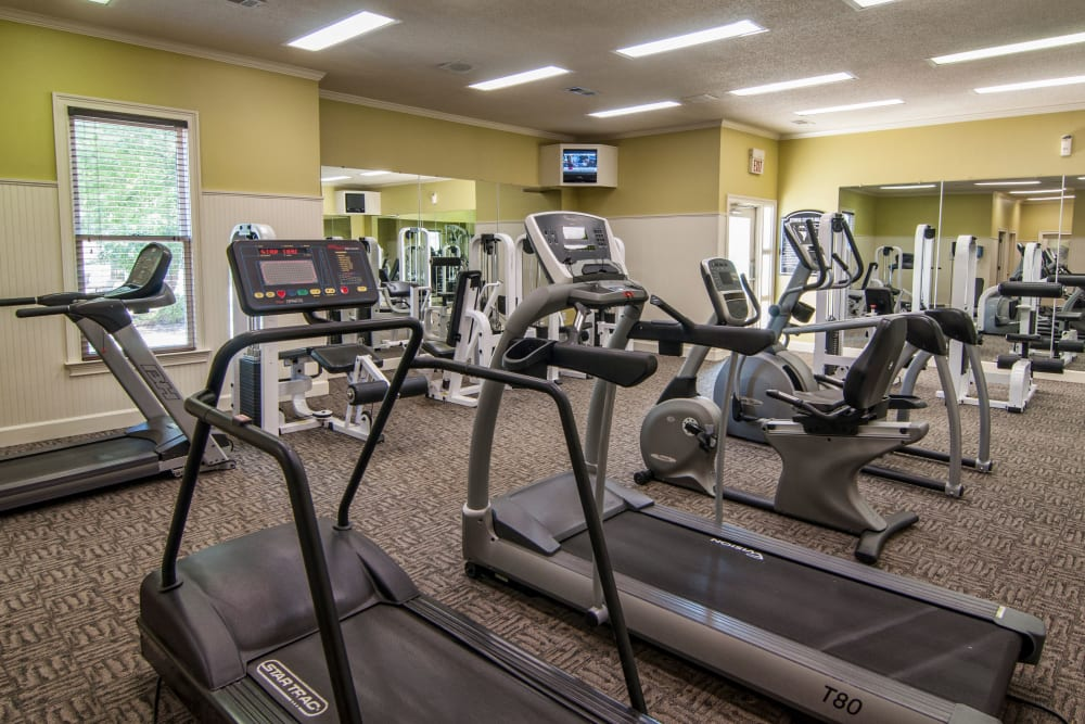 High-end equipment in the Fitness Center at Amber Chase Apartment Homes in McDonough, Georgia