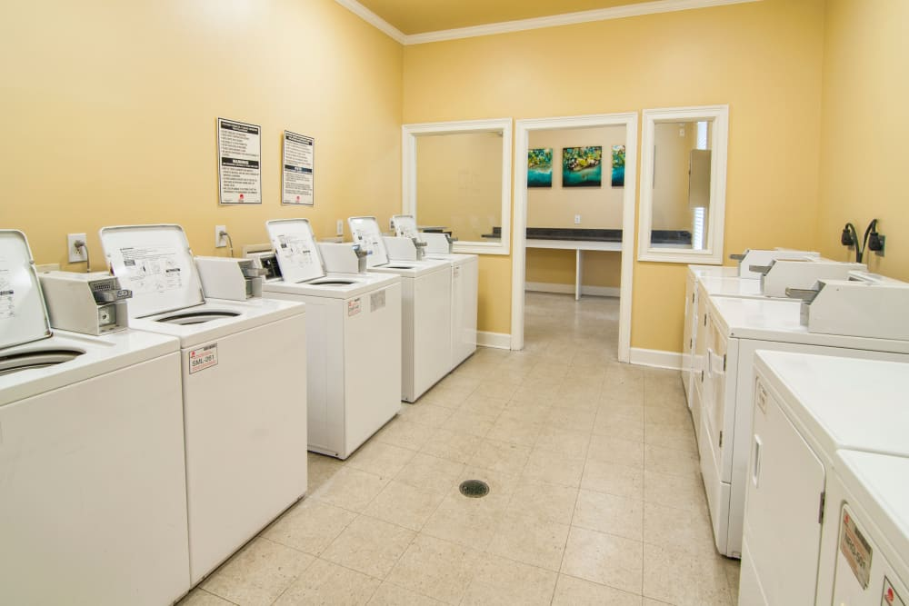 Brightly painted laundry facility at Amber Chase Apartment Homes in McDonough, Georgia