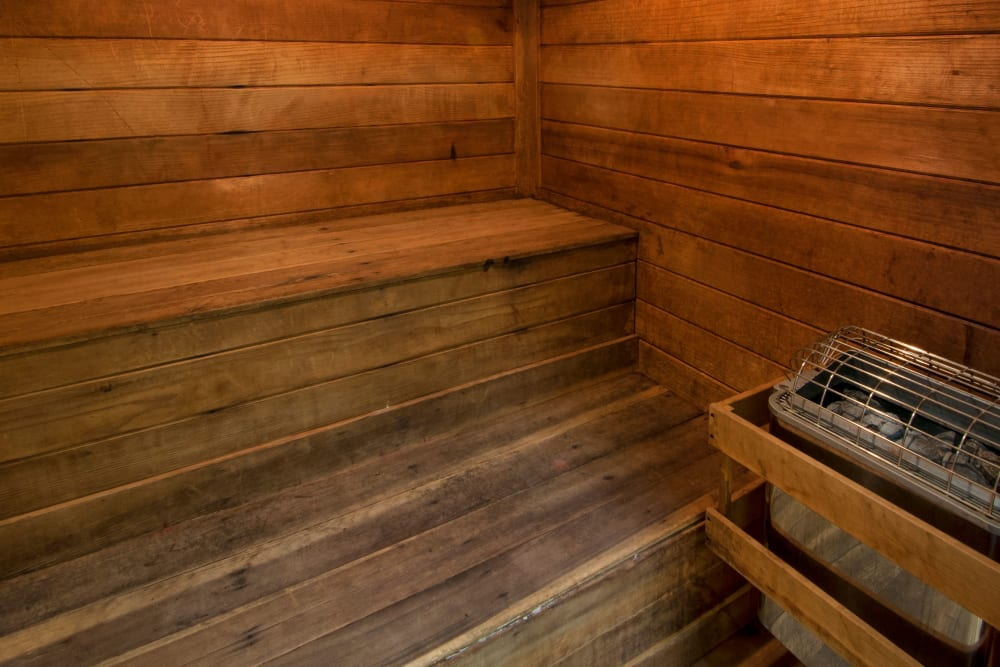 Beautiful wood sauna for residents to enjoy at Amber Chase Apartment Homes in McDonough, Georgia