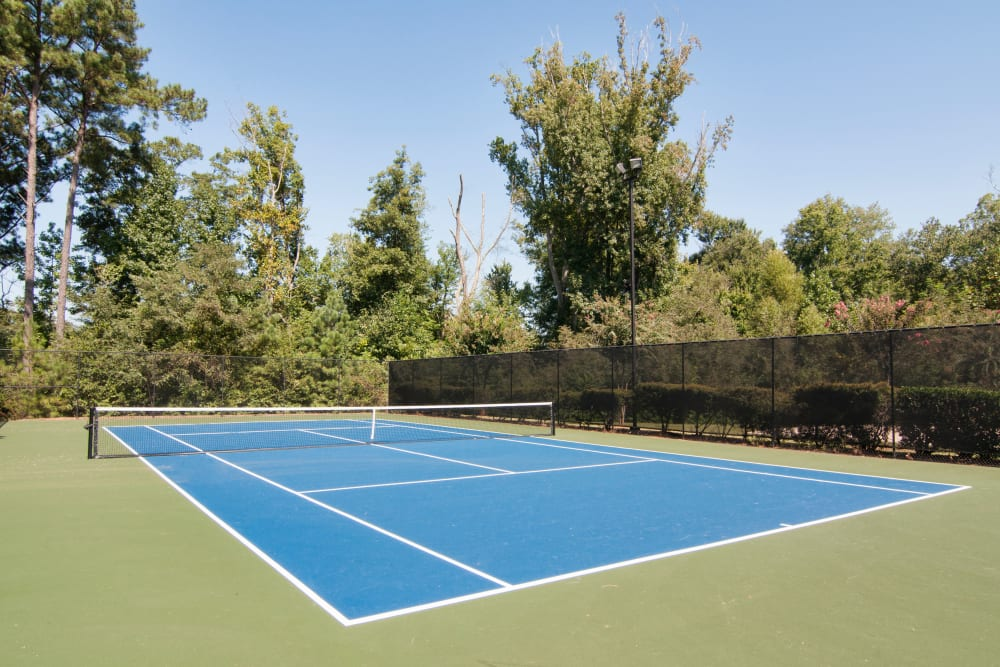 Community tennis courts are featured at Amber Chase Apartment Homes in McDonough, Georgia