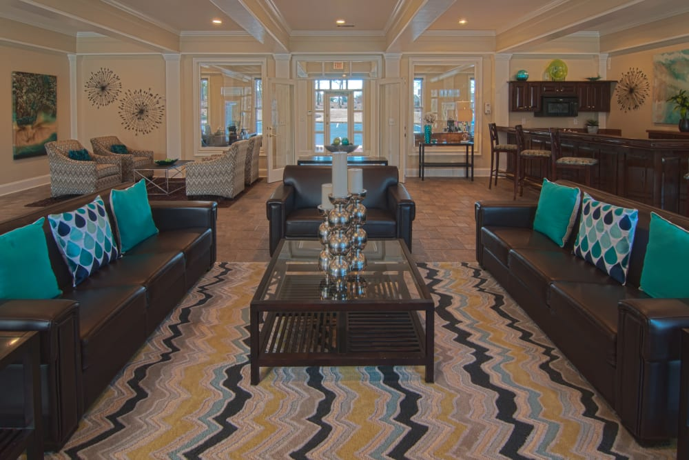 Beautiful clubhouse interior and community sitting area at Amber Chase Apartment Homes in McDonough, Georgia