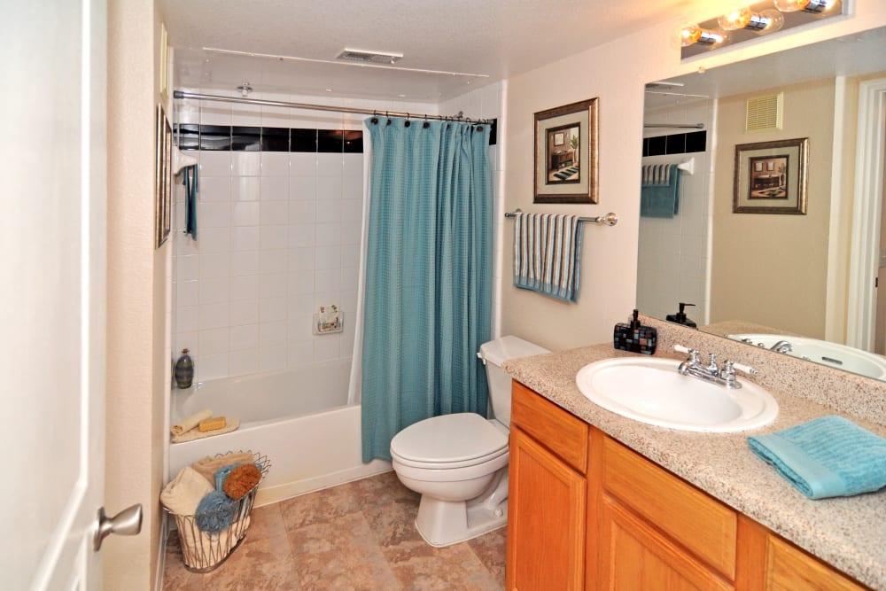 A bathroom with shower and bathtub at Arbrook Park Apartment Homes in Arlington, Texas