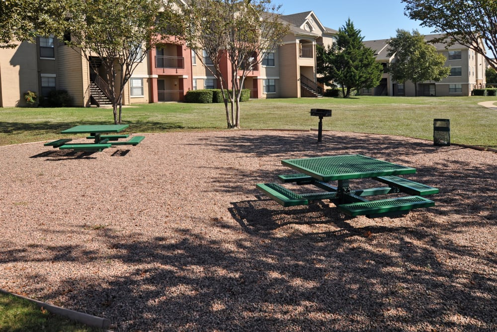 Outdoor picnic area and barbecue zone for community residents at Arbrook Park Apartment Homes in Arlington, Texas