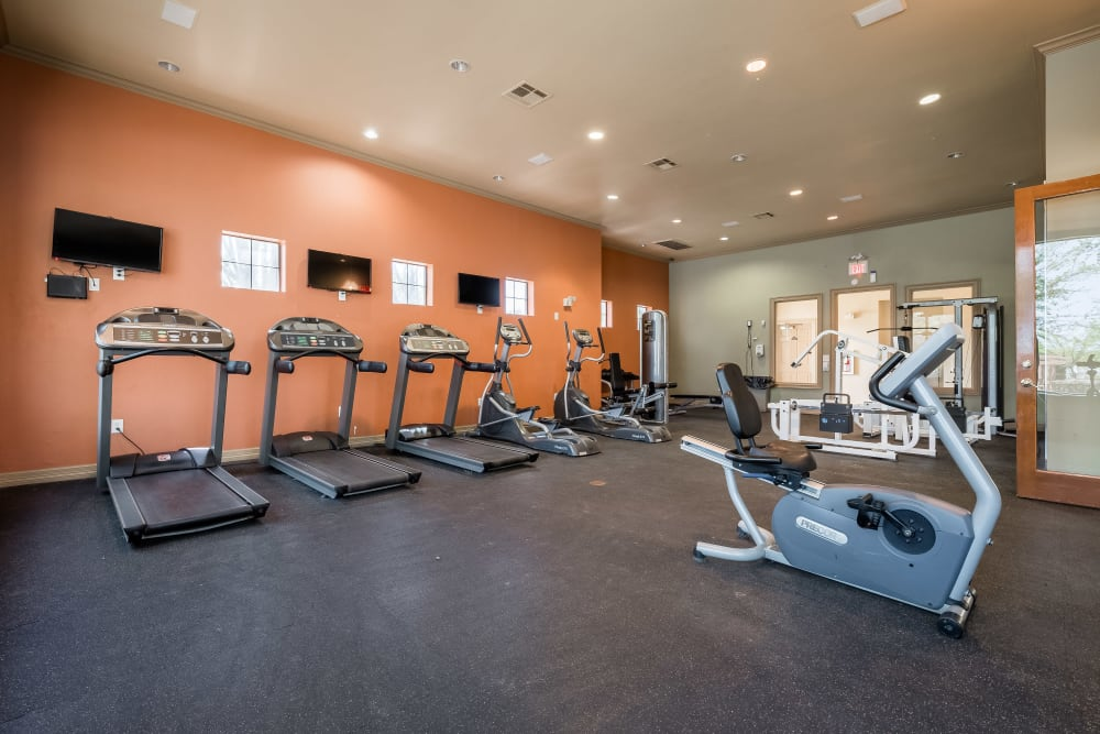 High quality exercise equipment can be found in the fitness center at Arbrook Park Apartment Homes in Arlington, Texas
