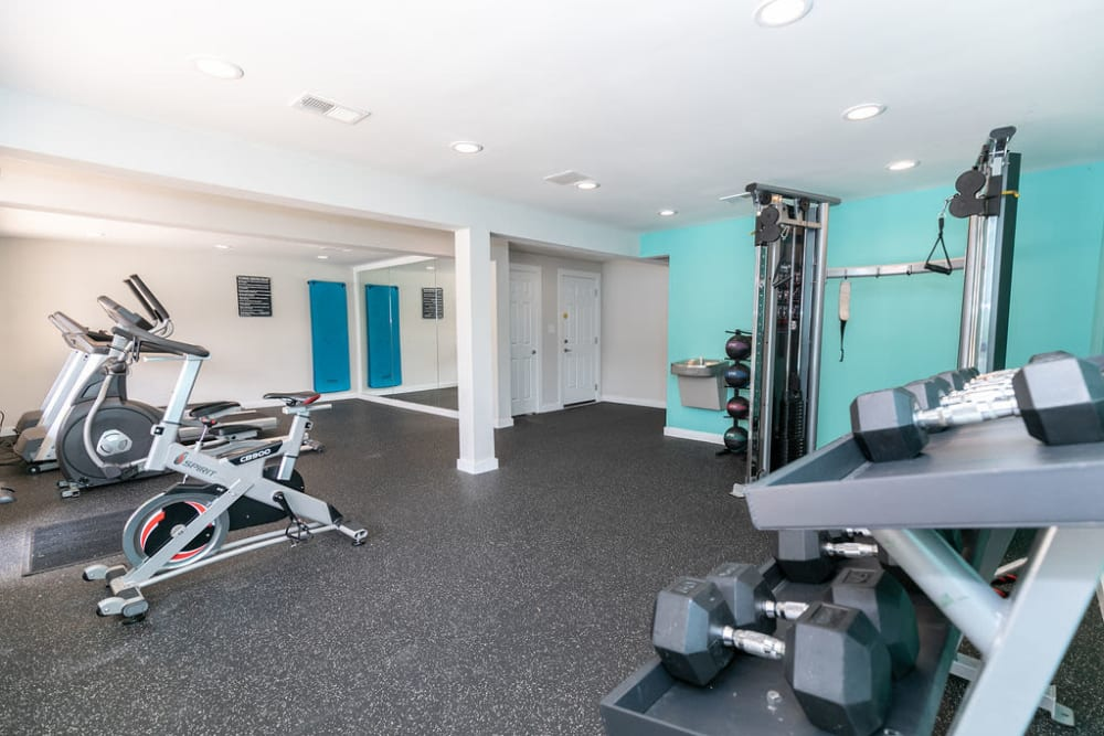 A gym at The BelAire Apartment Homes in Marietta, Georgia