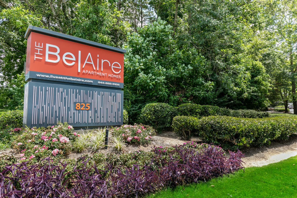 The sign in front of The BelAire Apartment Homes in Marietta, Georgia