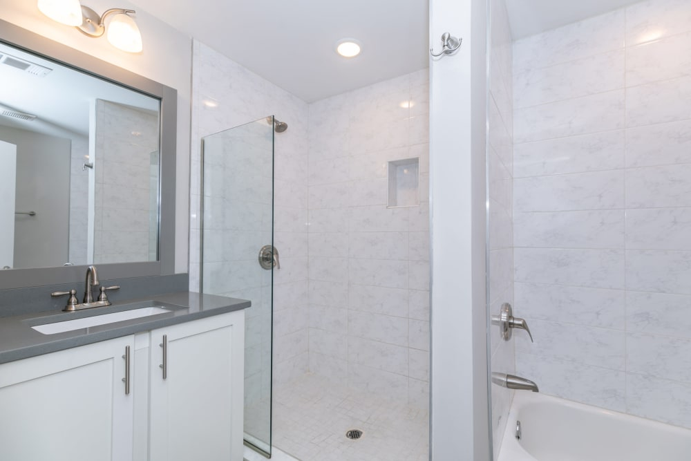 A large white bathroom at The BelAire Apartment Homes in Marietta, Georgia