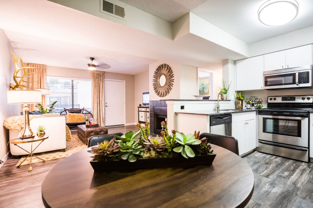 Open format living room, kitchen and dining space at 4127 Arcadia in Phoenix, Arizona