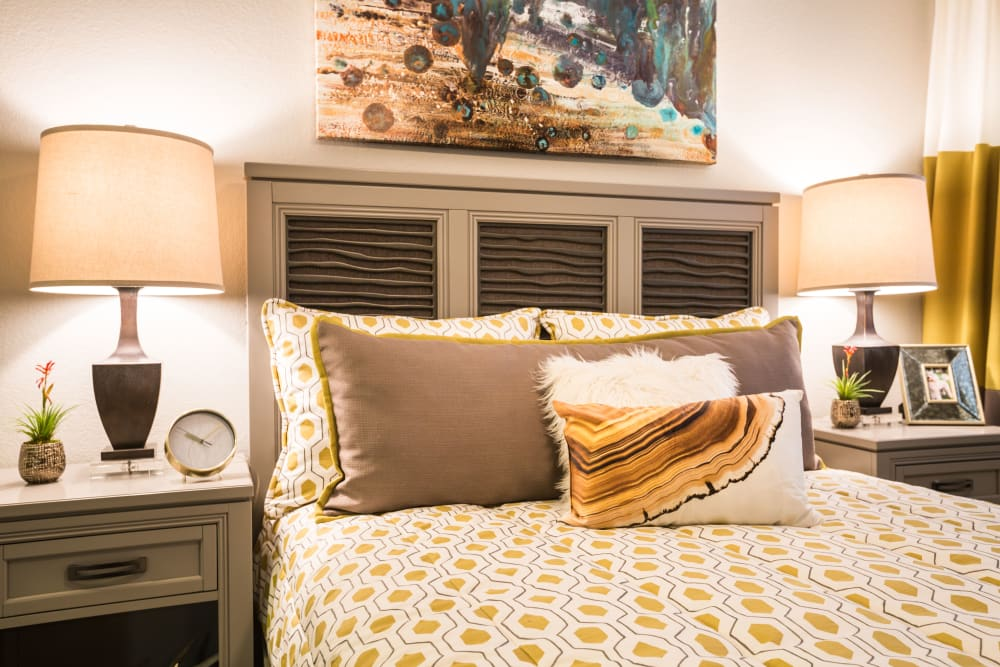 Beautiful bedroom with nightstands and art on the wall at 4127 Arcadia in Phoenix, Arizona