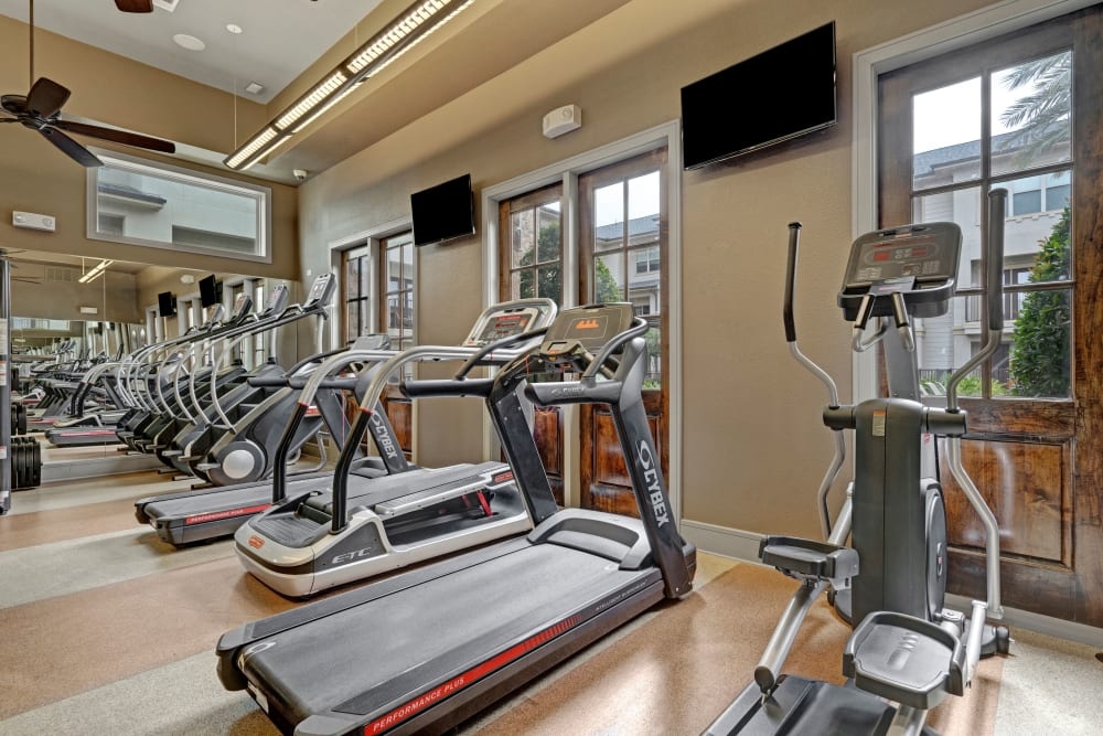 Treadmills and elliptical machines are a feature of the fitness center at Arrabella in Houston, Texas