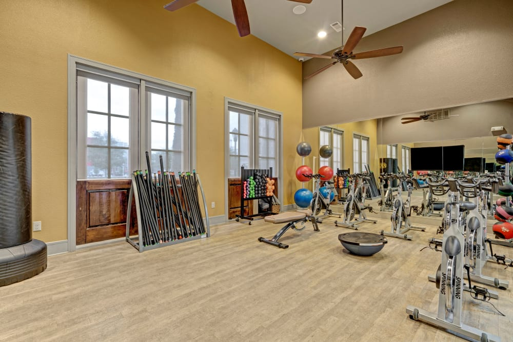 Large fitness center offers a variety of equipment and tall windows for lots of natural light at Arrabella in Houston, Texas