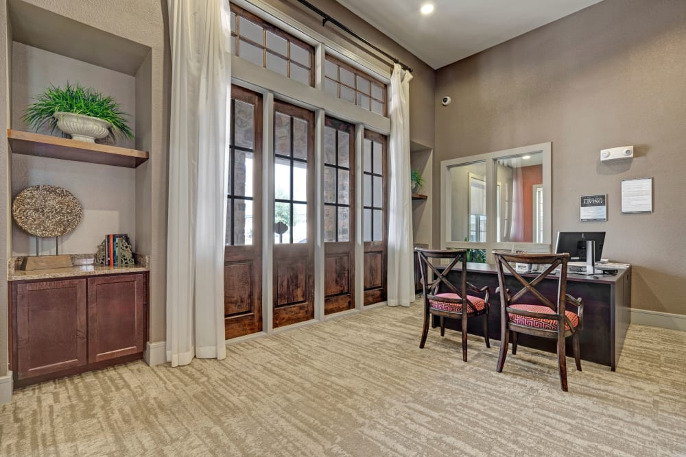 High ceilings in the leasing office at Arrabella in Houston, Texas
