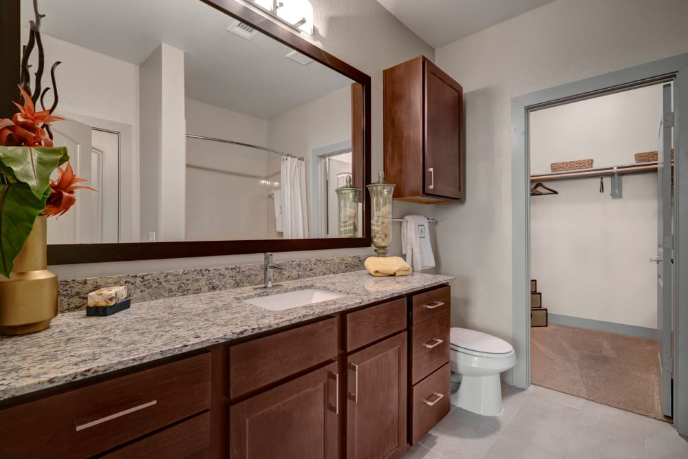 Bathroom with large vanity mirror and ample countertop space at Arrabella in Houston, Texas