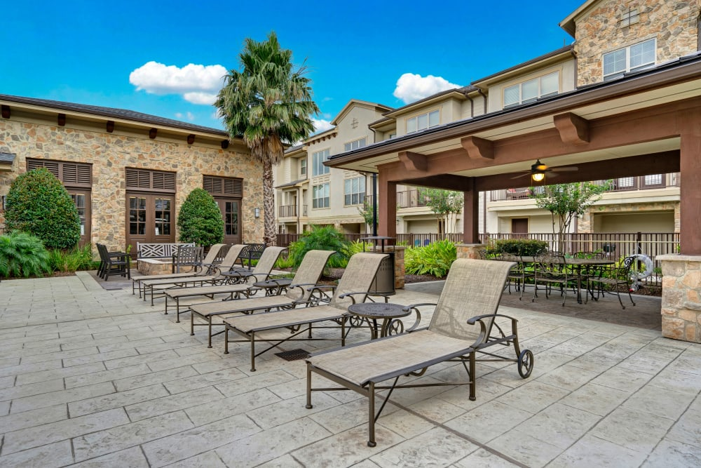 Lounge chair seating and shade gazebo at Arrabella in Houston, Texas