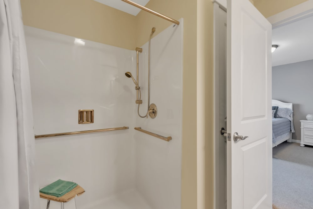 View of the model shower at Landings of Oregon in Oregon, Ohio