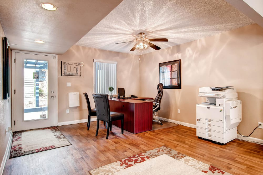 Leasing office with vaulted ceiling's and lots of light at Arvada Green Apartment Homes in Arvada, Colorado