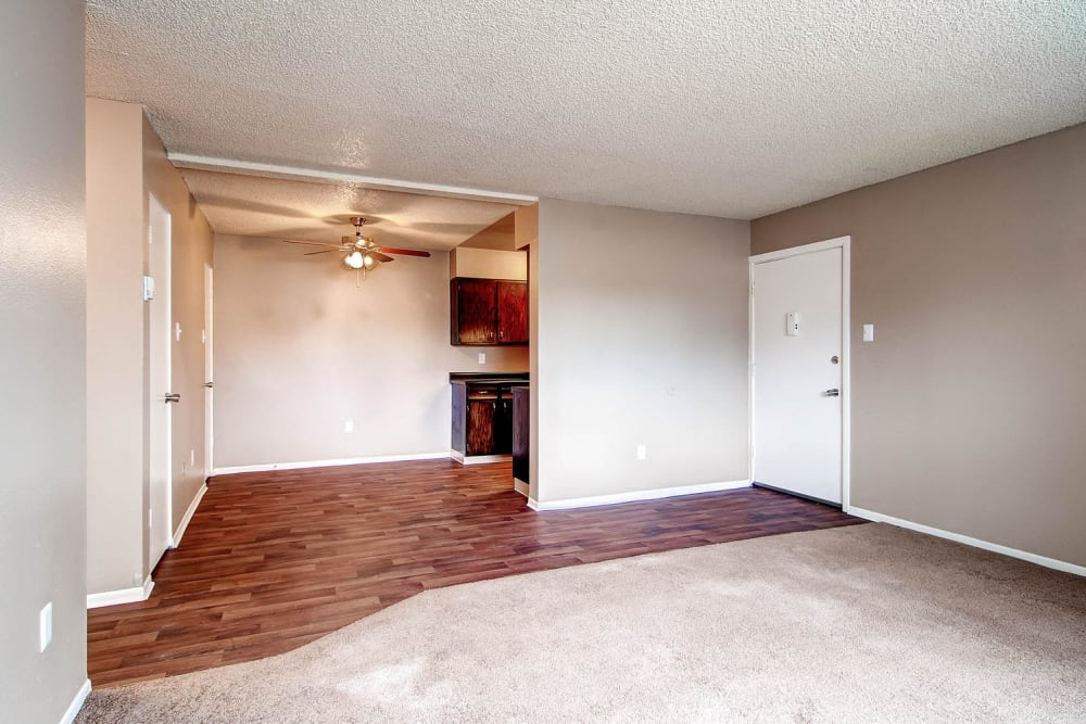 Open format floor plan and entryway to apartment at Arvada Green Apartment Homes in Arvada, Colorado