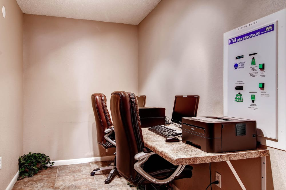 Quiet business center workspace at Apartments in Arvada, Colorado