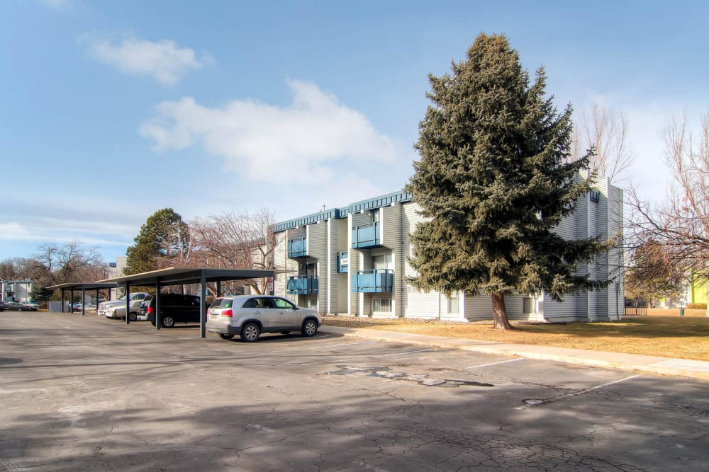 Exterior of buildings and apartments parking area at Arvada Village Apartment Homes in Arvada, Colorado