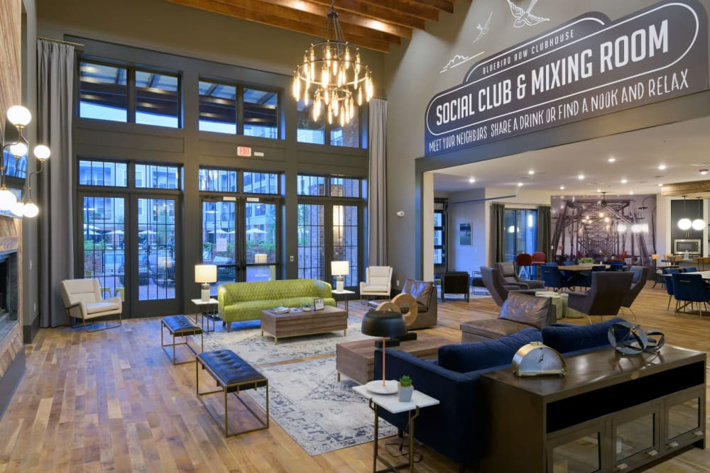 Clubhouse lounge at Bluebird Row in Chattanooga, Tennessee