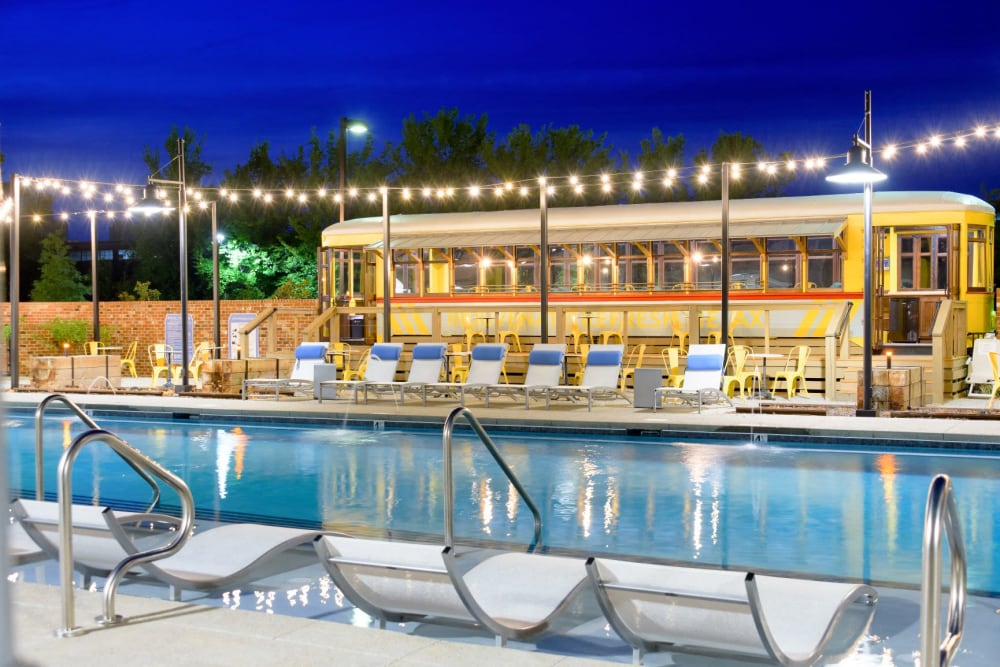 Swimming pool and converted streetcar lounge at Bluebird Row in Chattanooga, Tennessee